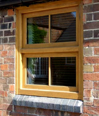 Newly constructed wooden window frame