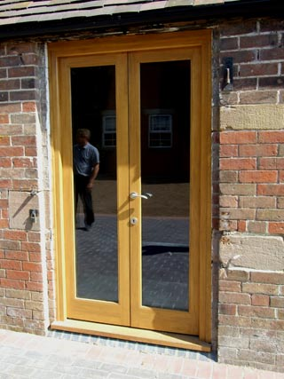 Newly constructed wooden patio doors